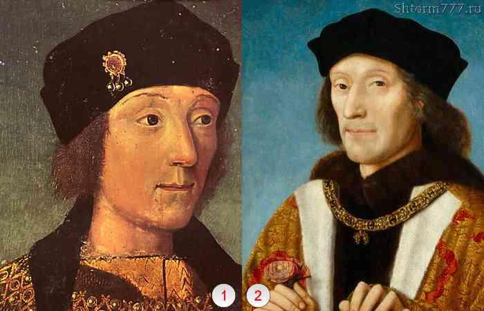 1) Генрих, граф Ричмонд, в молодости; 11) Король Генрих VII.